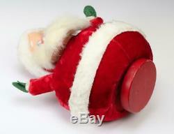 Vintage 1940s Musical Rotating Plush Santa Claus Rubber Face Jingle Bells Fur