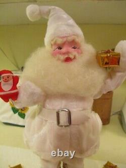Vintage 1950's Harold Gale Christmas Santa Claus 16 Doll In White Velvet Suit
