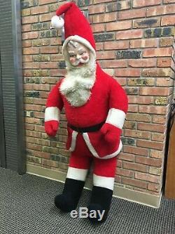 Vintage 1950s Large Stuffed Plush Santa Claus Doll