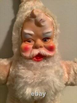Vintage 1950s Plush Santa Claus With Rubber Face Rare Pink