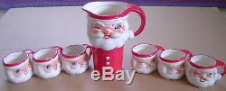 Vintage 1960 Howard Holt Winking Santa Claus Pitcher & Cup Set (6) Japan