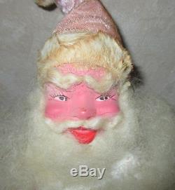 Vintage 1960's 15 Harold Gale Pink Velvet Santa Claus Mary Kay