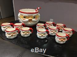 Vintage 1960's Holt Howard MCM 11 Winking Santa Claus Cups & Punch Bowl withLadle