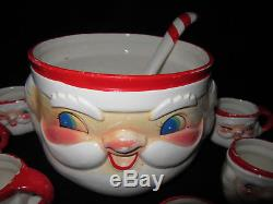Vintage 1960's Holt Howard MCM 8 Winking Santa Claus Cups & Punch Bowl withLadle