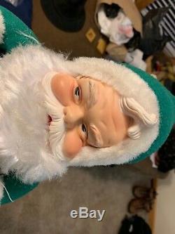 Vintage 1960's RUSHTON COMPANY 15 Green! Santa Claus Rubber Face Plush Doll