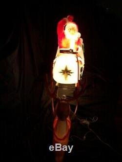 Vintage 1970 Empire LARGE Santa Claus in Sleigh 1 Reindeer LIGHT UP Blow Mold