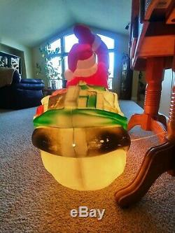 Vintage 1970 Empire Large Santa Claus in his Sleigh Christmas Blow Mold 37x39
