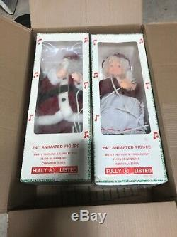 Vintage 24 Animated Musical Mr. And Mrs. Santa Claus