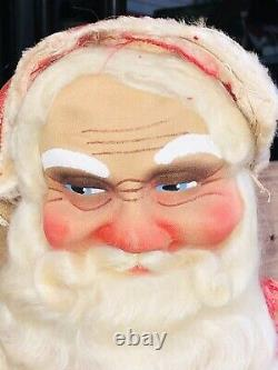 Vintage 25 cloth face Santa Claus Old 1940s Store Display Wood Feet Awesome