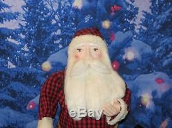 Vintage 42 Store Display Primitive Santa Claus with Paper Mache Head & Hands
