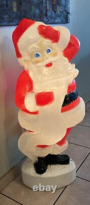 Vintage 44 Christmas Santa Claus Blow Mold Lighted With List Yard Decorations