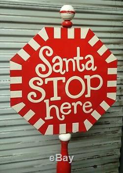 Vintage 44 Porcelain Paint Metal Sign Santa STOP here Santa Claus Christmas