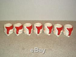 Vintage 50's Santa Claus Punch Bowl Ladle and 7 Cups Handpainted