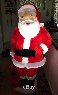 Vintage 60 Tall General Foam Lighted Santa Claus Blow Mold Christmas Decoration