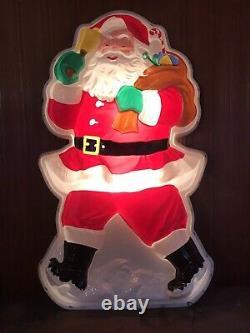 Vintage 63 X 37 Molded Plastic Flatback Lighted Santa Claus
