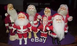 Vintage 7 lot Christmas Santa Claus doll figures plush rubber vinyl face