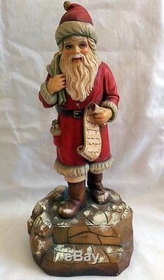 Vintage ANRI B Shackman 9 1/2 Santa Claus Wooden Figure 1988 Christmas 136/500