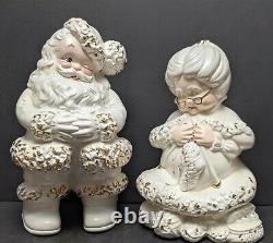 Vintage Atlantic Mold 14 White + Gold Winking Santa Mrs Claus Knitting Ceramic