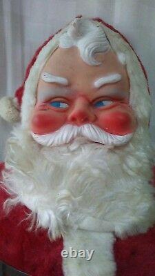 Vintage Big 22 Inch Stuffed Rubber Faced Santa Clause