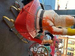 Vintage Blow Mold Santa Claus Sleigh Reindeer Christmas Yard Decor 60's Poloron