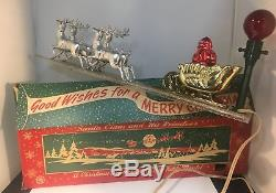 Vintage Bradford Santa Claus & His Reindeer Light Up Mantel Decoration Orig Box