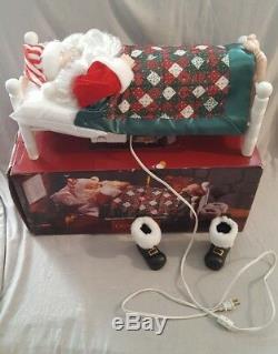 Vintage CHRISTMAS Animated Sleeping Santa With Sound Bed Grandeur Noel