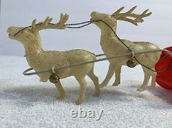 Vintage Celluloid SANTA CLAUS & SLEIGH WITH 2 REINDEERS Christmas JAPAN 1930's