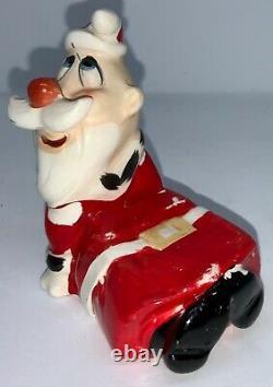 Vintage Ceramic Kreiss Salt & Pepper Mrs. Claus Sitting On Santa Claus