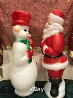 Vintage Christmas 1974 Carolina Enterprises Santa Claus & Snow Man 23 Blow Mold