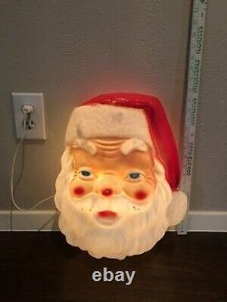 Vintage Christmas Empire Plastic Blow Mold Giant Santa Claus Face Light Up 18