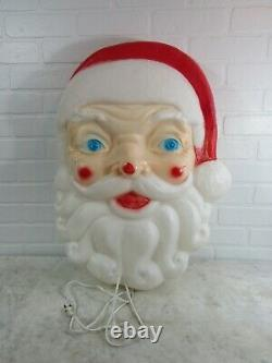 Vintage Christmas Empire Plastic Blow Mold Giant Santa Claus Face Light Up 24