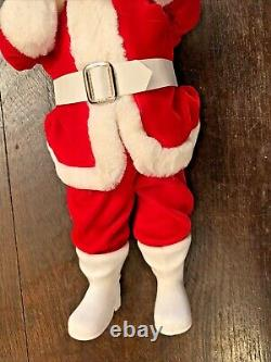 Vintage Christmas HAROLD GALE Santa Claus Doll Mohair Beard Red Velvet Suit 15