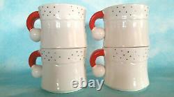 Vintage Christmas Holt Howard Starry Eyed Santa 1960s Mugs Cups Set of Four