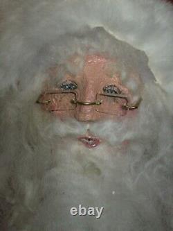 Vintage Christmas SANTA CLAUS- Hand Made Folk Art Stuffed Doll Big 24 Sitter