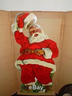 Vintage Christmas Stand-Up Cardboard Santa Claus 3 Feet Original Box 1950's
