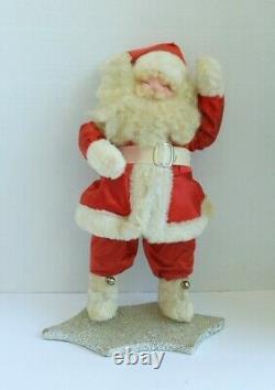 Vintage Christmas Waving Santa Claus Figure16 TallPaper Mache HeadGlitter