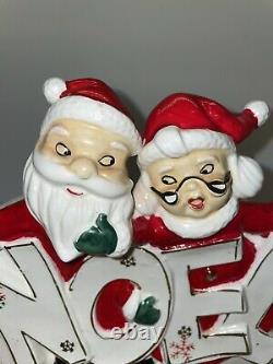 Vintage Dickson Christmas Planter Santa and Mrs Claus NOEL