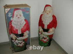 Vintage Empire Blow Mold Lighted 46 Christmas Santa Claus ORIG BOX Toy Sack