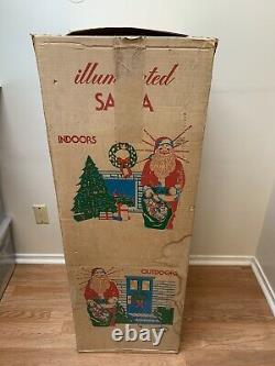 Vintage Empire Blow Mold Lighted 46 Christmas Santa Claus Toy Sack Original Box