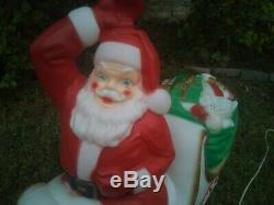 Vintage Empire Large Santa Claus in Sleigh Sled with Deer, Christmas Blow Mold