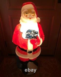 Vintage Empire Santa Claus Blue Present Christmas Blow Mold Outdoor