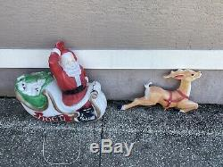 Vintage Empire Santa Claus in Sleigh Christmas Blow Mold 37x39 With Reindeer