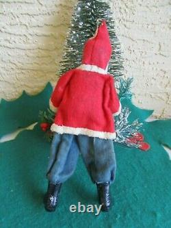 Vintage German Santa Claus Clay Compo Face&hands & Boots Felt Suit Holding Tree
