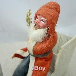 Vintage Germany Santa Claus in Sleigh Holding Tree Sprig Felt Robe Plaster