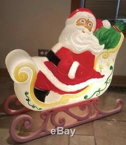Vintage Grand Venture Santa Claus Sleigh Blow Mold Christmas Decor FREE SHIPPING