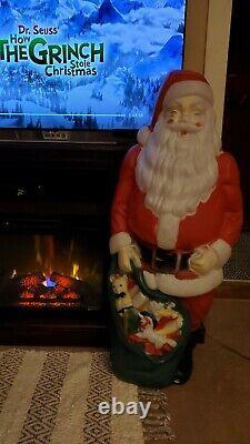 Vintage HUGE 46 SANTA CLAUS BLOW MOLD Light Up EMPIRE PLASTICS Decor CHRISTMAS