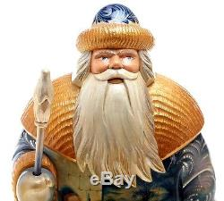 Vintage Hand Carved & Panted Santa Claus Wooden Figure Huge Collectible