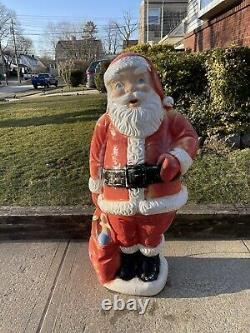 Vintage Hard Plastic Blow Mold Santa Claus Christmas Figure Decoration 59 Inches