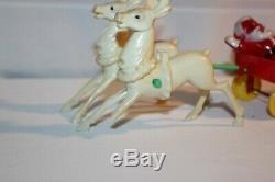Vintage Hard Plastic Rosbro Rosen Santa Claus Hayride Wagon Christmas 1950's