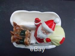 Vintage Hard to Find Lefton Santa Claus in Sleigh with Reindeer Planter 2915